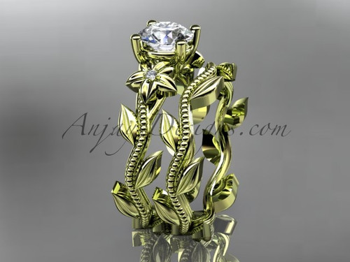 Unique 14k yellow gold diamond floral wedding ring, engagement set ADLR238S