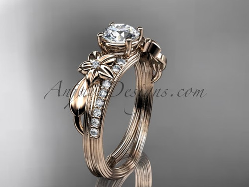 """14kt rose gold diamond leaf and vine wedding ring, engagement ring with a """"Forever One"""" Moissanite center stone ADLR331"""
