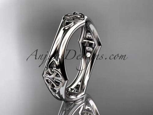 14kt white gold celtic trinity knot wedding band, engagement ring CT7356G