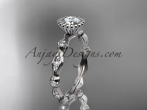 "platinum  diamond leaf wedding ring, engagement ring with  ""Forever One"" Moissanite center stone ADLR21"