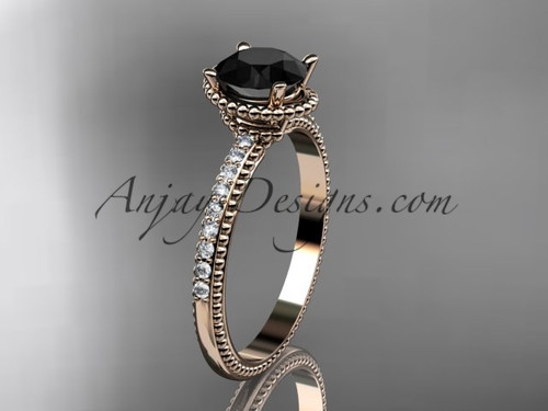 14kt rose gold diamond unique engagement ring, wedding ring with Black Diamond center stone ADER86