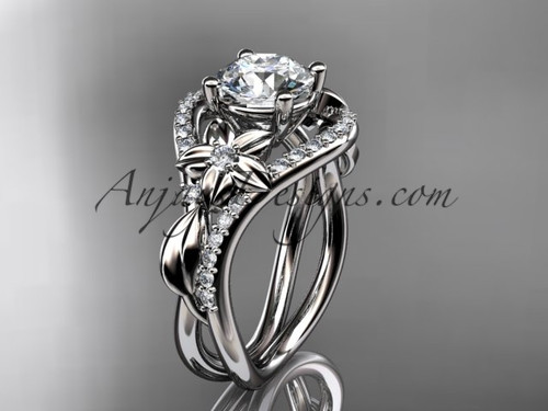 Unique Platinum Diamond Floral Engagement Ring ADLR244