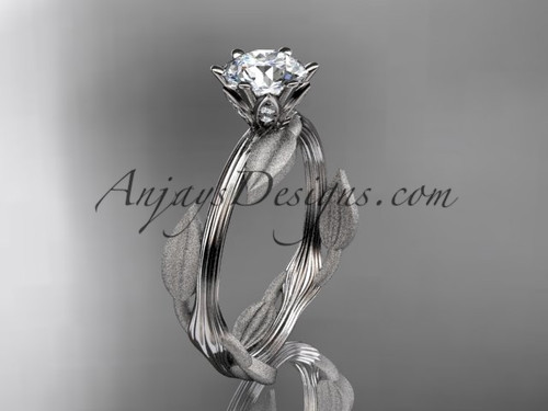 White Gold Leaf Ring, Moissanite Wedding Ring ADLR343