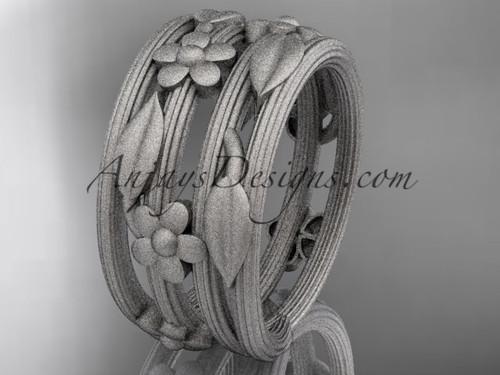 14kt white gold leaf and vine, floral wedding band, engagement ring ADLR242G