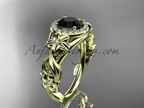 14kt yellow gold diamond unique engagement ring, wedding ring with a Black Diamond center stone ADLR300