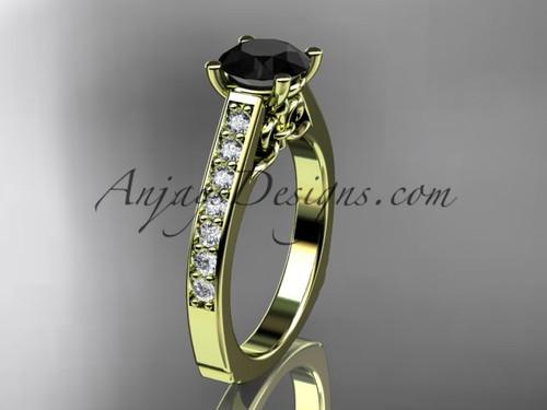 Black Diamond Engagement Yellow Gold Ring ADER114
