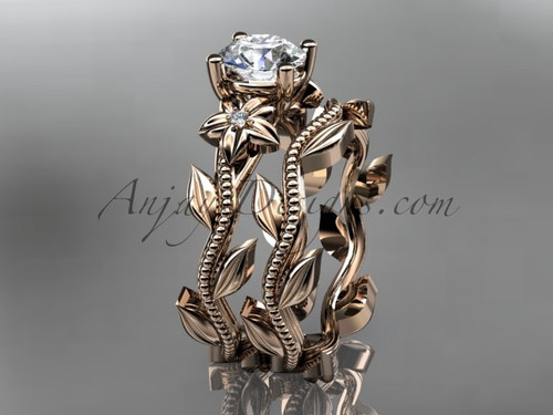 Unique 14k rose gold diamond floral wedding ring, engagement set ADLR238S