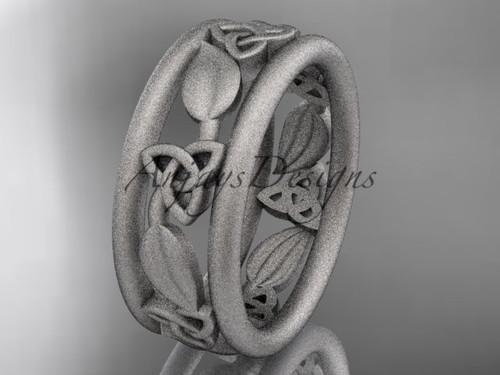 platinum celtic trinity knot wedding band, matte finish wedding band, engagement ring CT7233G