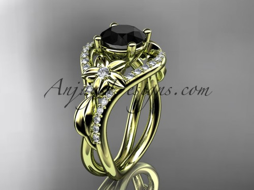 Yellow Gold Black Diamond Leaf Engagement Ring ADLR244