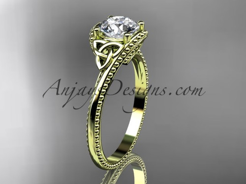 14kt yellow gold celtic trinity knot wedding ring, engagement ring CT7322