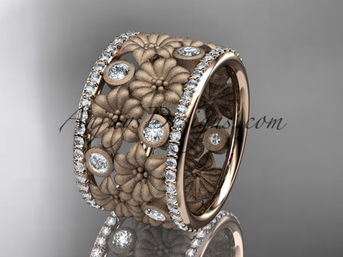 14k rose gold diamond flower wedding band, engagement ring ADLR232B