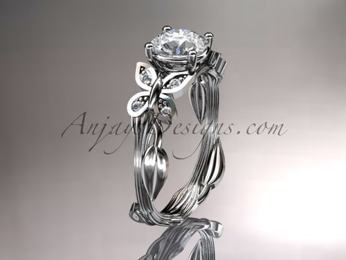 "14kt white gold diamond leaf and vine wedding ring, engagement ring with a ""Forever One"" Moissanite center stone ADLR251"