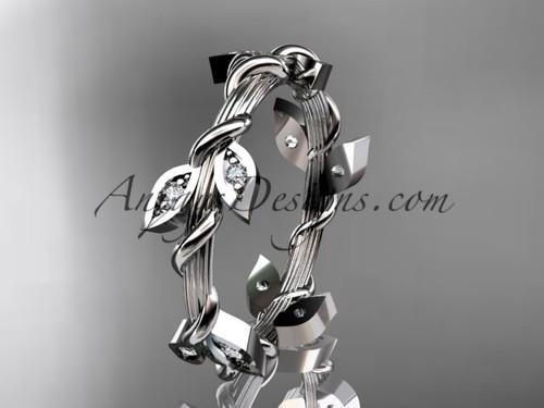 14kt White Gold Diamond Leaf Wedding Band ADLR20B