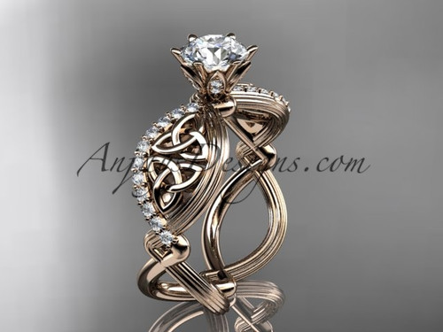 "14kt rose gold diamond celtic trinity knot wedding ring, engagement ring with a ""Forever One"" Moissanite center stone CT7192"