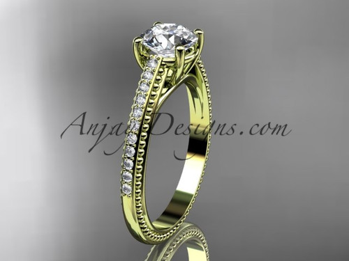 """14kt yellow gold diamond unique engagement ring, wedding ring with  """"Forever One"""" Moissanite center stone ADER87"""
