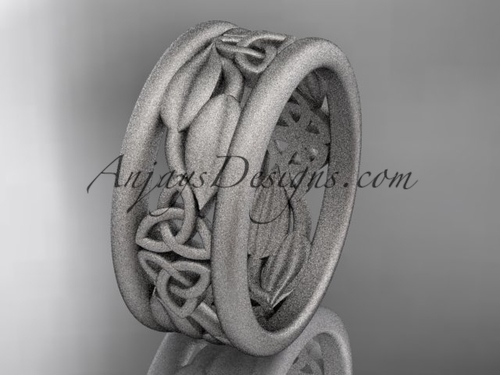 14kt white gold celtic trinity knot matte finish wedding band, engagement ring CT7293GA