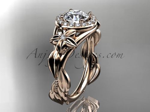 "14k rose gold diamond unique leaf and vine, floral engagement ring with a ""Forever One"" Moissanite center stone ADLR327"