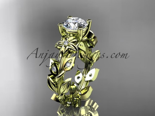 Moissanite Engagement Ring Yellow Gold Flower  ADLR215