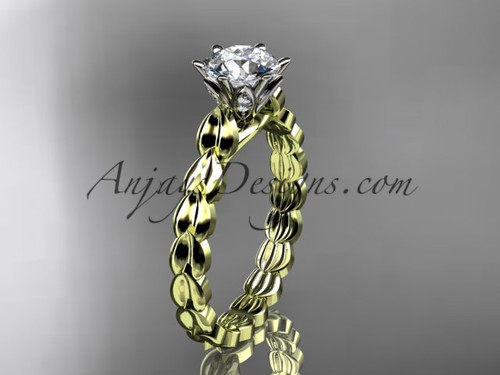 "14k yellow gold diamond vine and leaf wedding ring, engagement ring with  ""Forever One"" Moissanite center stone ADLR35"