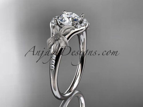 """platinum diamond leaf and vine wedding ring, engagement ring with a """"Forever One"""" Moissanite center stone ADLR91"""