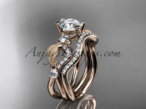 14kt rose gold diamond leaf and vine wedding ring, engagement set ADLR68S