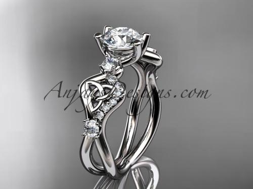 Moissanite Irish Bridal Ring Platinum Celtic Ring CT768