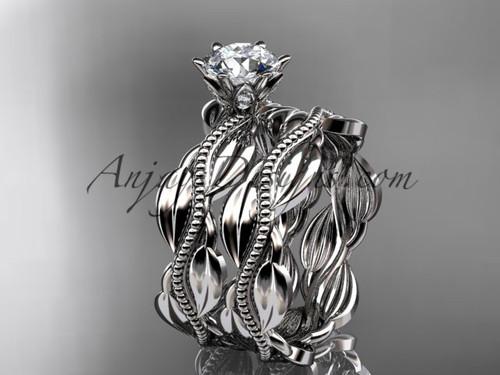 platinum leaf and vine engagement ring, wedding set ADLR258S