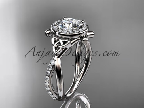 "14kt white gold celtic trinity knot engagement ring, wedding ring with a ""Forever One"" Moissanite center stone CT789"