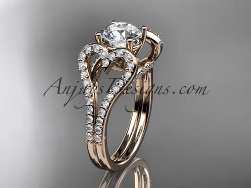 14kt rose gold heart  engagement ring, wedding ring, ADER395