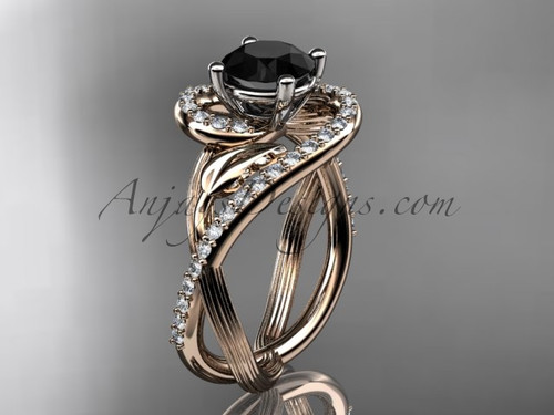 Unique 14kt rose gold diamond leaf and vine wedding ring, engagement ring with a Black Diamond center stone ADLR222