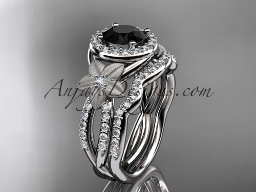 14kt white gold  diamond floral wedding ring, engagement set with a Black Diamond center stone ADLR127S