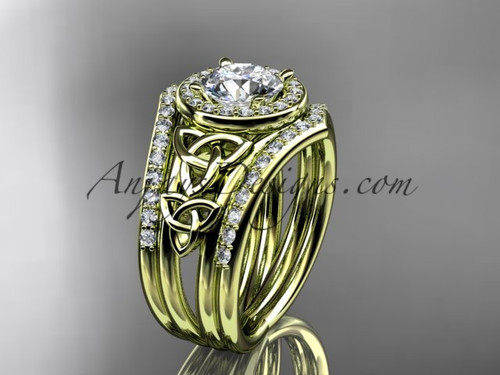 14kt yellow gold diamond celtic trinity knot wedding ring, engagement ring with a double matching band CT7131S