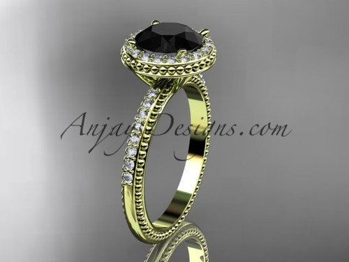 14kt yellow gold diamond unique engagement ring,  wedding ring with a Black Diamond center stone ADER95