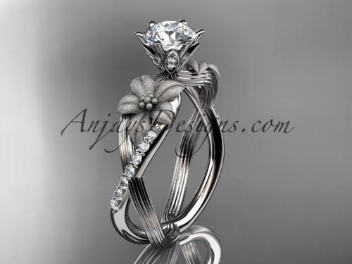 Unique 14kt white gold diamond flower, leaf and vine wedding ring, engagement ring ADLR221