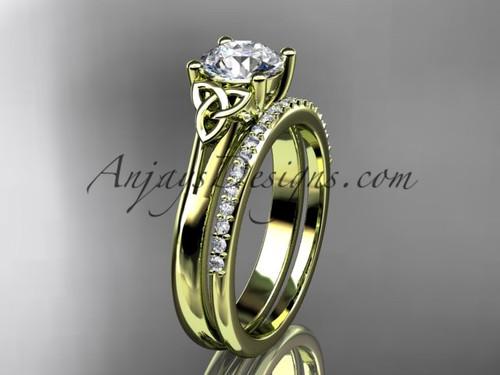 14kt yellow gold diamond celtic trinity knot wedding ring, engagement set CT7154S