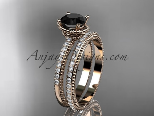14kt rose gold diamond unique engagement set, wedding ring with  Black Diamond center stone  ADER86S