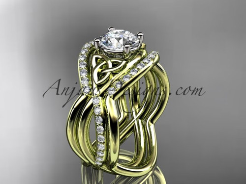 Celtic Bridal Rings Yellow Gold Irish Double Band Ring CT790S