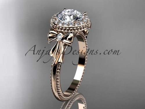 Diamond Bow 14kt Rose Gold Engagement Ring ADER157