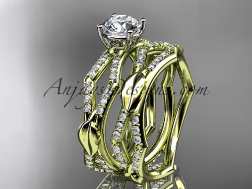"14k yellow gold diamond leaf and vine wedding ring, engagement set with a ""Forever One"" Moissanite center stone ADLR353S"