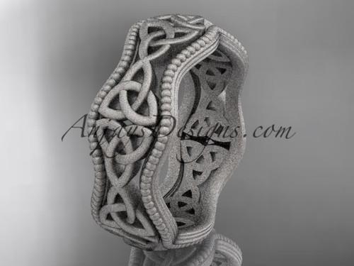 platinum celtic trinity knot matte finish engagement ring, wedding band CT750B