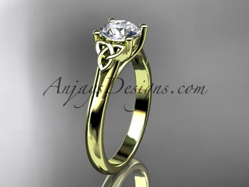 """14kt yellow gold celtic trinity knot wedding ring with a """"Forever One"""" Moissanite center stone CT7154"""