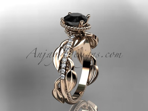 Black Diamond leaf engagement ring Rose Gold Ring Design for Female ADLR231