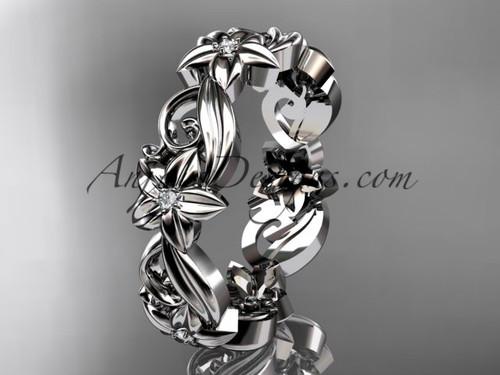 Platinum diamond flower wedding ring, engagement ring, wedding band ADLR217B