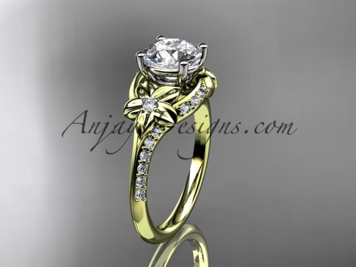"""14kt yellow gold diamond floral wedding ring, engagement ring with a """"Forever One"""" Moissanite center stone ADLR125"""