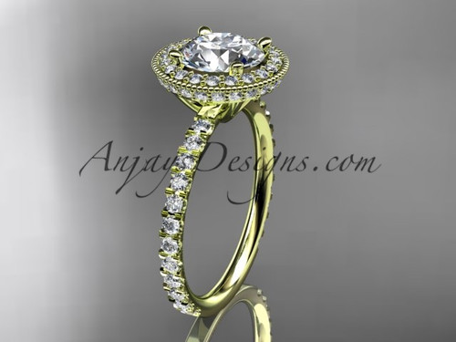 """14kt yellow gold diamond unique engagement ring, wedding ring with a """"Forever One"""" Moissanite center stone ADER106"""