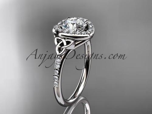 14kt white gold diamond celtic trinity knot wedding ring, engagement ring CT7201