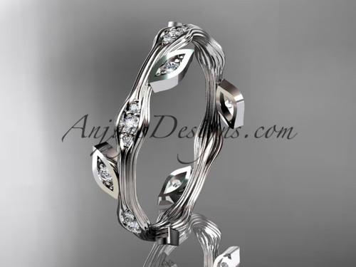 Stunning Diamond Ring White Gold Leaf Wedding Band ADLR41B