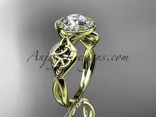 Celtic Bridal Ring, Yellow Gold Halo Diamond Ring  CT7219