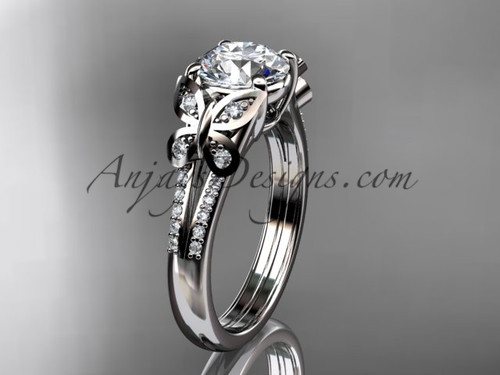 Butterfly Rings Platinum Moissanite Engagement Ring ADLR514
