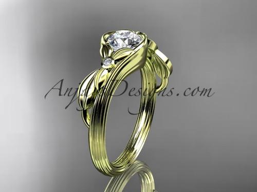 Yellow Gold Flower Unusual Moissanite Bridal Ring ADLR324